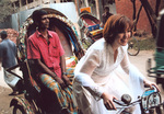 American student pulling the rickshaw puller
